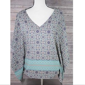 MIAMI  Teal Blue Floral Diamond Batwing Sleeve Sm